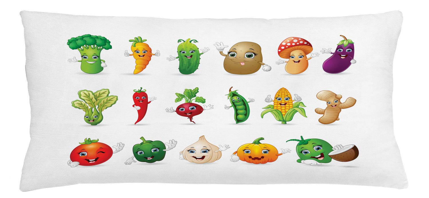Ambesonne Vegetable Throw Pillow Cushion Cover, Funny Various Cartoon Characters with Smiley Faces Happy Farm Theme Kids Nursery, Decorative Rectangle Accent Pillow Case, 36'' X 16'', Green Tan by Ambesonne
