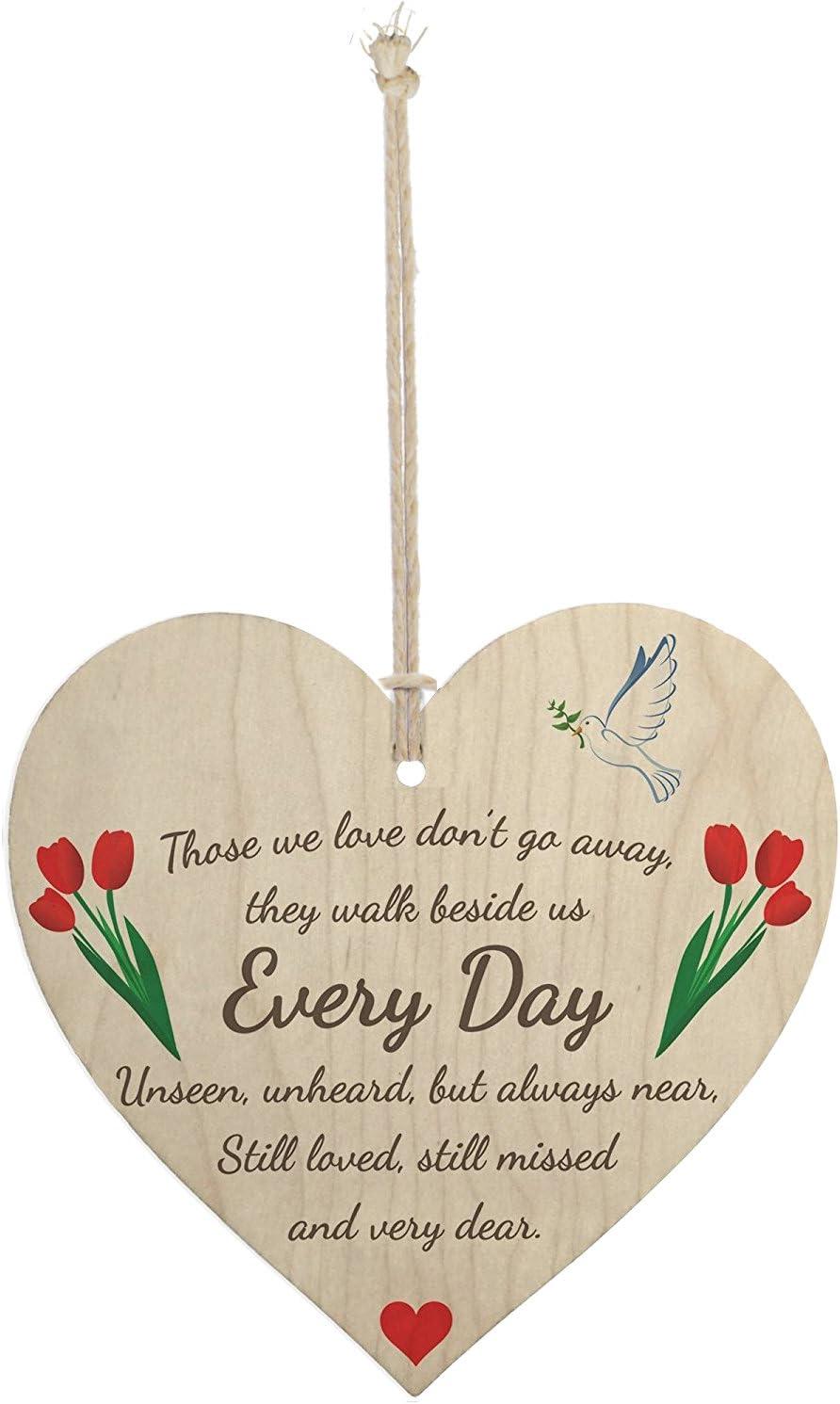Meijiafei Those We Love Don't Go Away Wooden Hanging Heart Memorial Plaque Heaven Sign