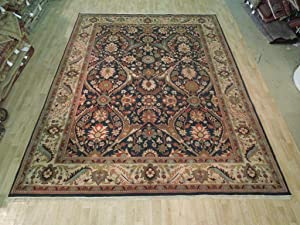Navy Blue Floral Area Rug 100% Hand Woven 9' x 12' Jaipur Quality New Carpet