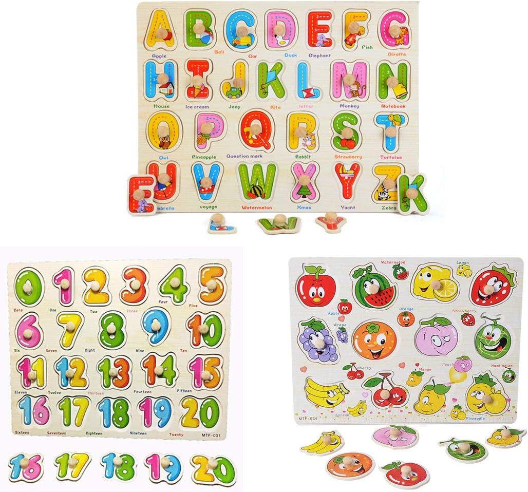 FLORMOON Puzzles de Madera Números Letras y Frutas Juguetes Educativos Rompecabezas de Clavijas de Madera para 1 2 3 + años para niños pequeños, niña (Paquete de 3)