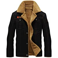 K3K Hot! New Winter Men's Fashion Faux Fur Lined Thick Flight Jacket