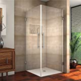"Aston SEN989-32-SS-10 Vanora Completely Frameless Square Shower Enclosure, 32"" x 32"" x 72"", Stainless Steel"