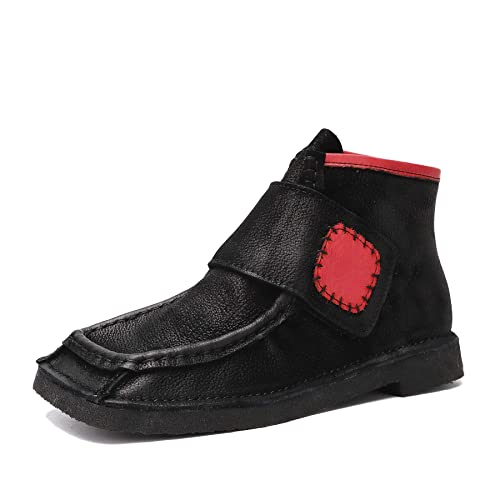 Botines de tacón bajo de otoño Cuadrado para Mujer Mocasines en Genuino Cuero Vintage con Velcro Zapatos Planos Mocasines Casuales: Amazon.es: Zapatos y ...