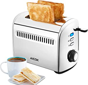 Toaster 2 Slice AICOK Extra-Wide Slots Stainless Steel Toasters with Bagel Defrost Cancel Function, 7 Toast Shade Level, Removable Crumb Tray, High Lift Level, 850W