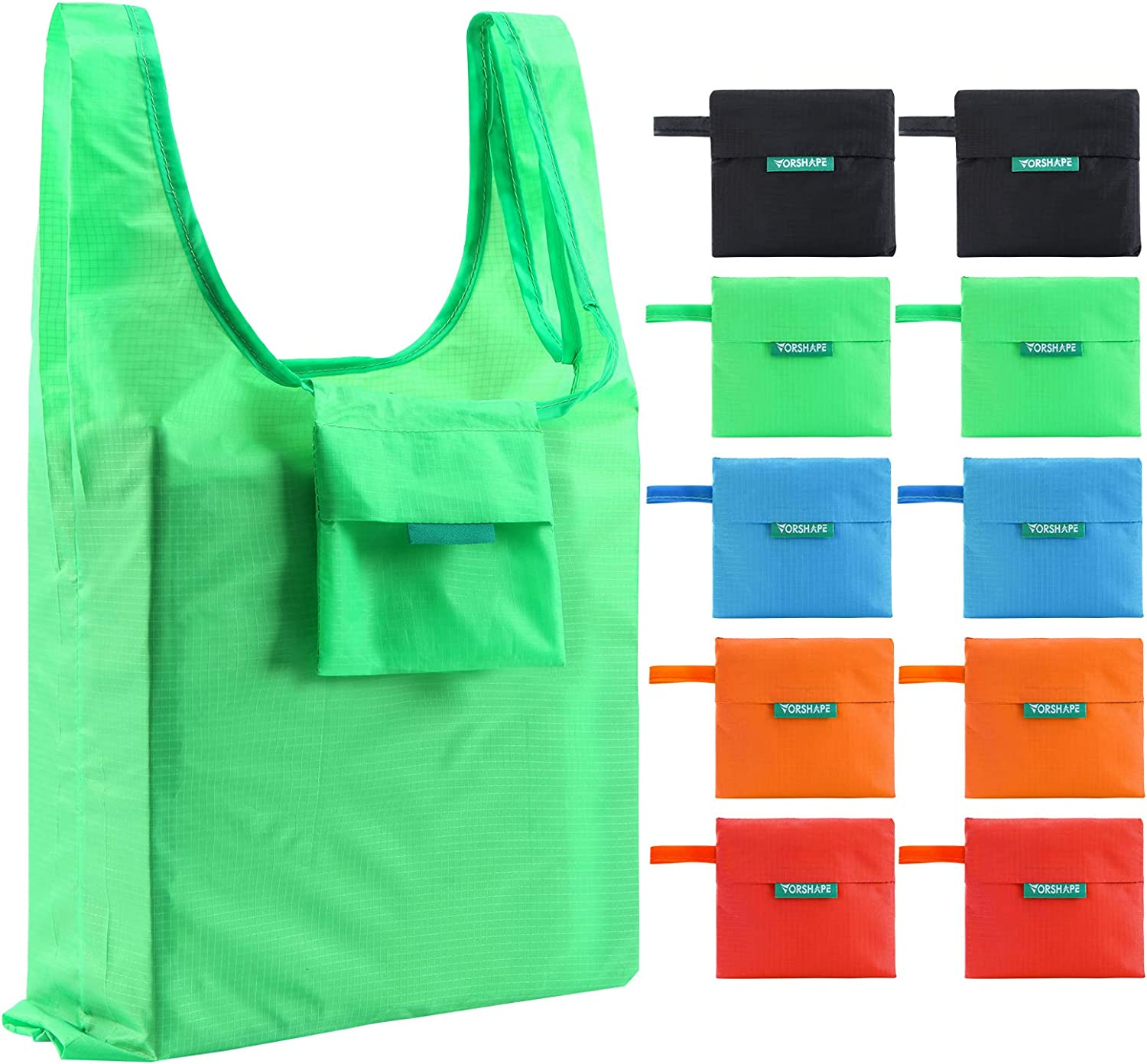 10 Packs Reusable Grocery Bags Large Shopping Bags with 50LBS - Machine Washable - Foldable Tote Bags with Rip-Stop Polyester Material, Food Safe, Colorful (Black, Blue, Red, Green, Orange)