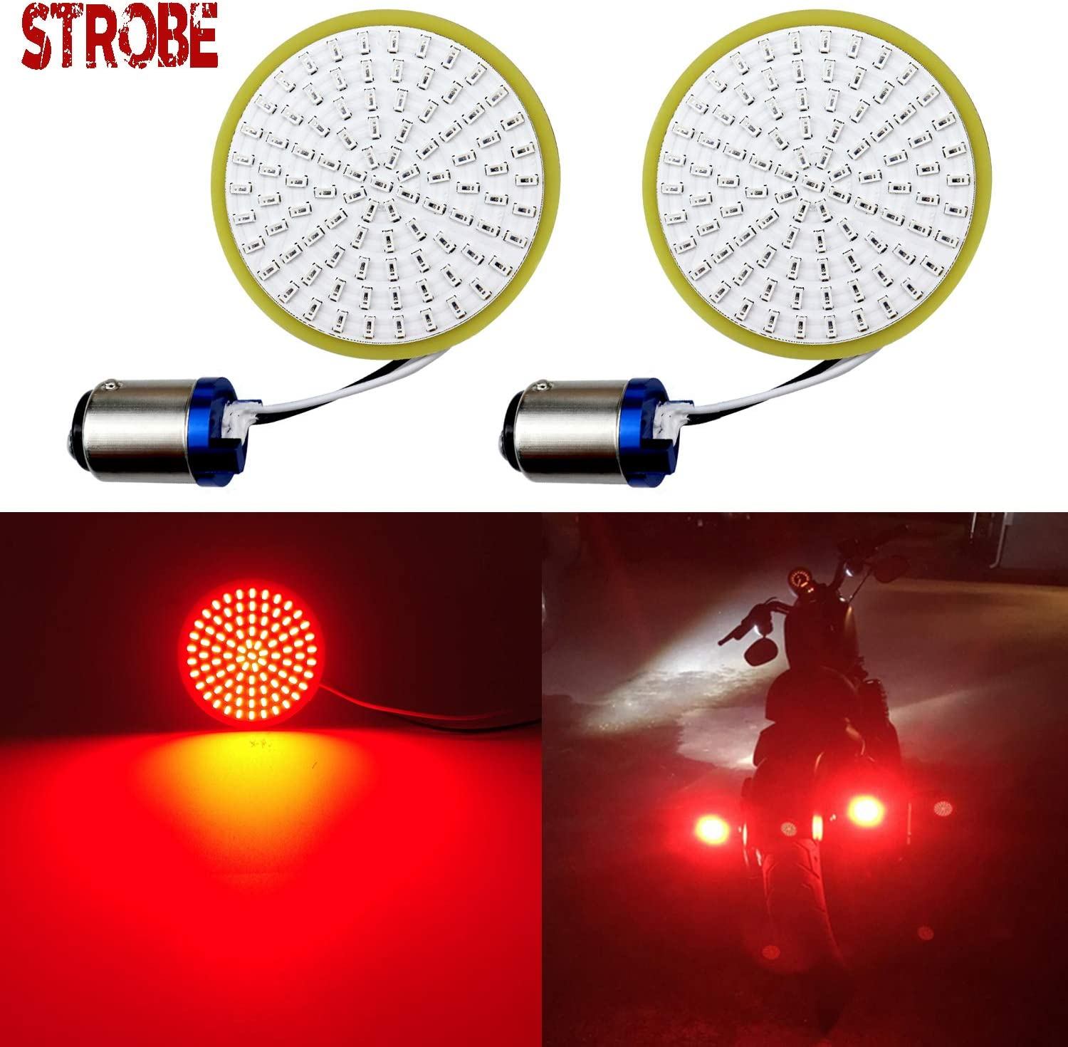 LivTee Extremely Bright Flashing Strobe Blinking Brake Stop Tail LED Lights Panel with 1157 Base Compatible with Harley Dyna Street Glide Road King, Brilliant Red