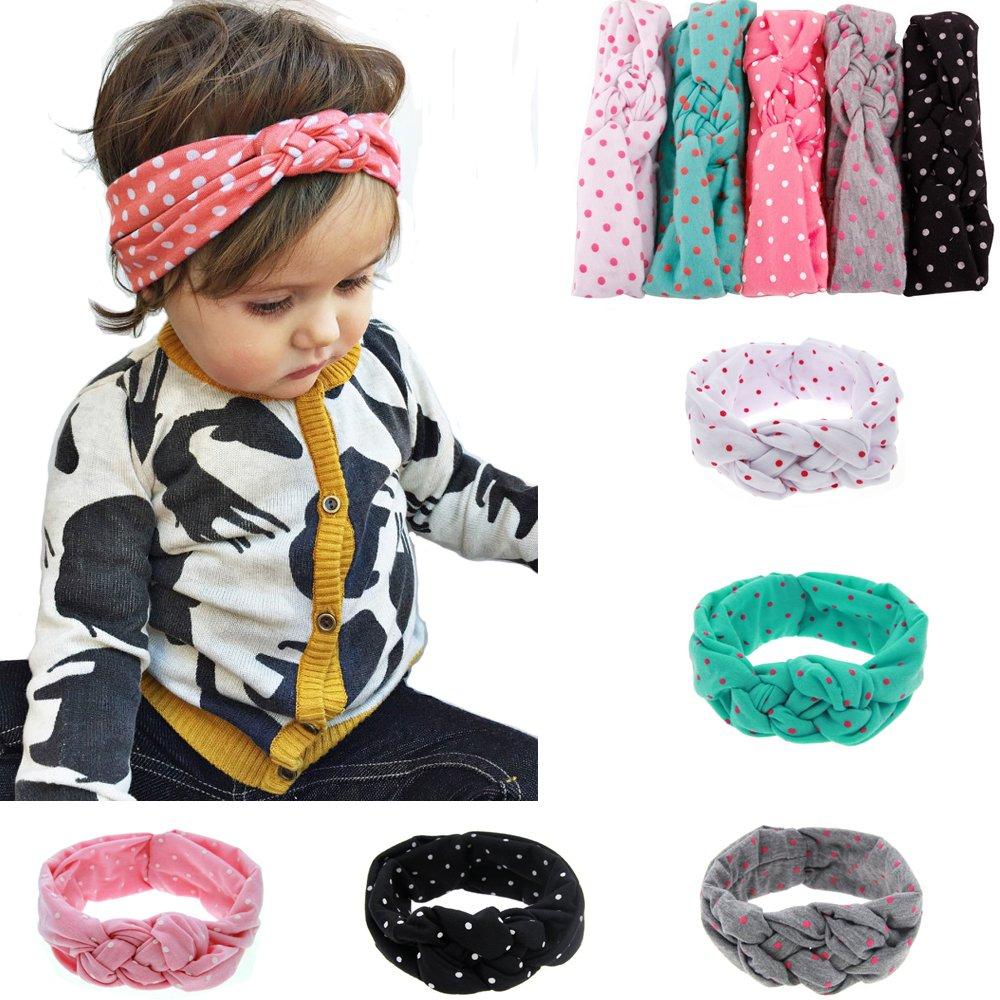 Ruiooy bébé filles Toddler Bow Bandeaux Turban Knot Lapin Bandeau Bandeau Headwear (lot de 5) (type 2)