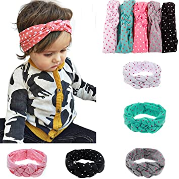 Ruiooy Baby Girls Toddler Bow Headbands Turban Knot Rabbit Hairband Headwrap  Headwear (Pack of 5 44206368581c