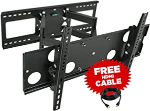 """Mount-It! Full Motion TV Wall Mount for 16'', 18'', 24'' Wood Studs, Fits 32"""" - 65"""" LCD LED Plasma Flat Screen Curved TVs up to 165 lbs; Includes HDMI Cable (MI-2291)"""