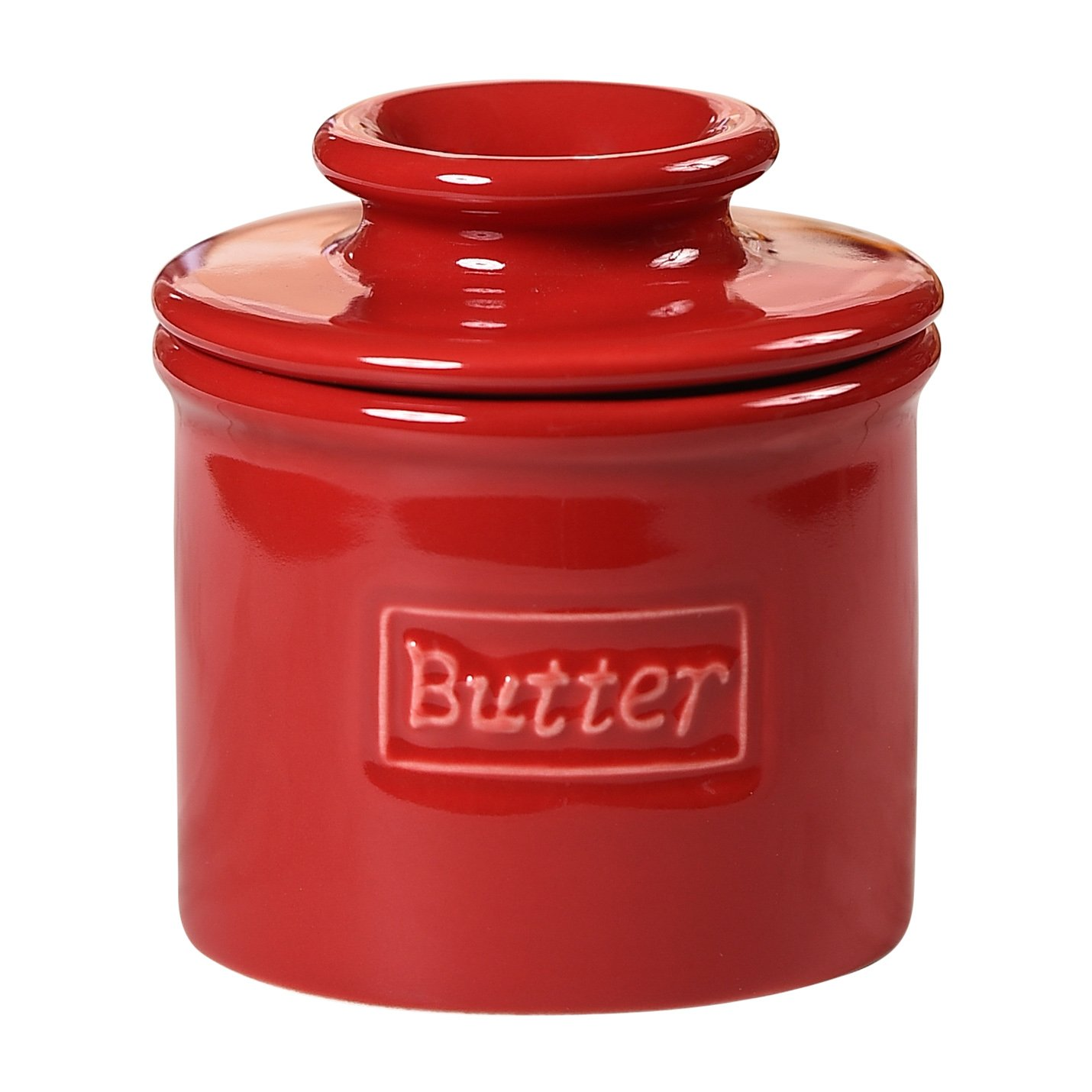 The Original Butter Bell Crock by L. Tremain, Cafe Retro Collection - Maraschino Red