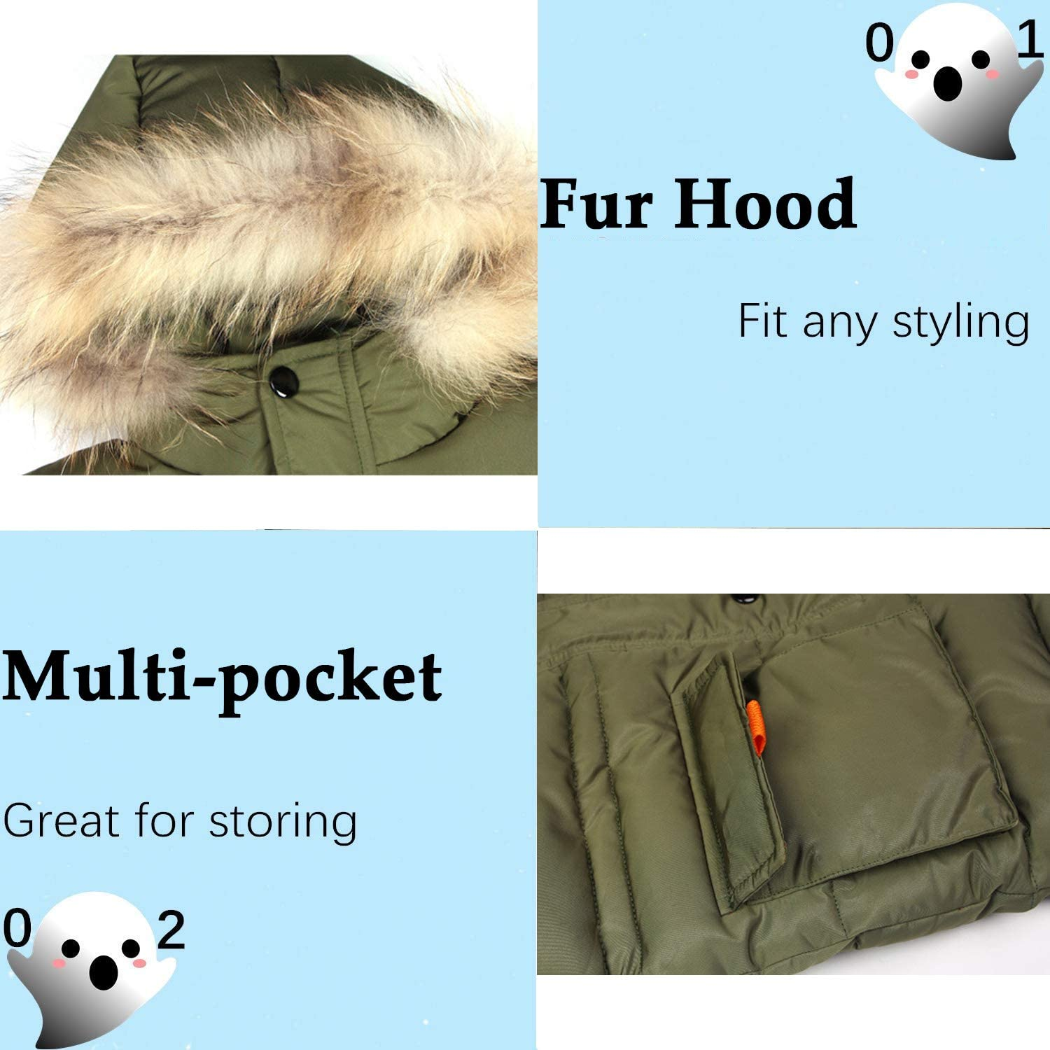 FARVALUE Boy Winter Coat Warm Quilted Puffer Parka Jacket with Fur Hood for Big Boys