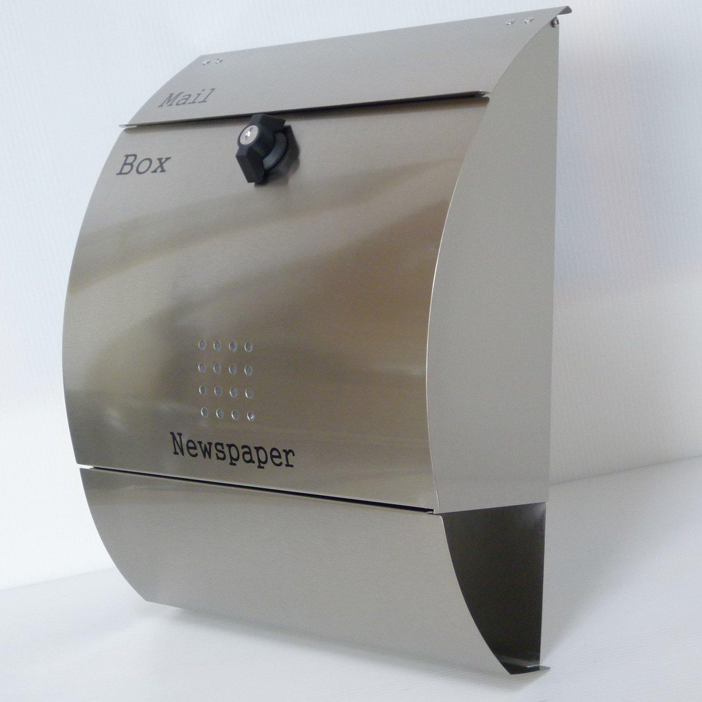 郵便ポスト郵便受け北欧風大型メールボックス 壁掛けプレミアムステンレスシルバーステンレス色ポストpm036 B018NNWPXA 12880