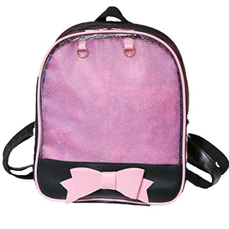 Smilecoco Candy Leather Bow Backpack Plastic Transparent Beach Girls School  Bag (Bag034-Black Pink) 120c87760ffa2