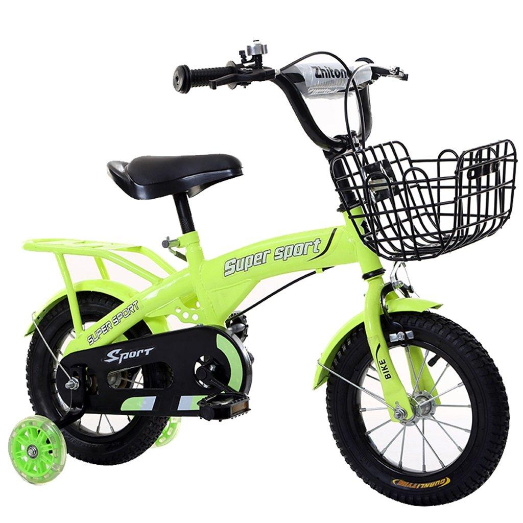 KANGR-子ども用自転車 子供用自転車アウトドアマウンテンバイク2-3-6-8ボーイズとガールズ子供用おもちゃ調節可能ハンドルバー/フラッシュトレーニングホイールとシート付きサドル-12 / 14/16/18インチ ( 色 : 緑 , サイズ さいず : 14 inch ) B07BTWWYNP 14 inch|緑 緑 14 inch