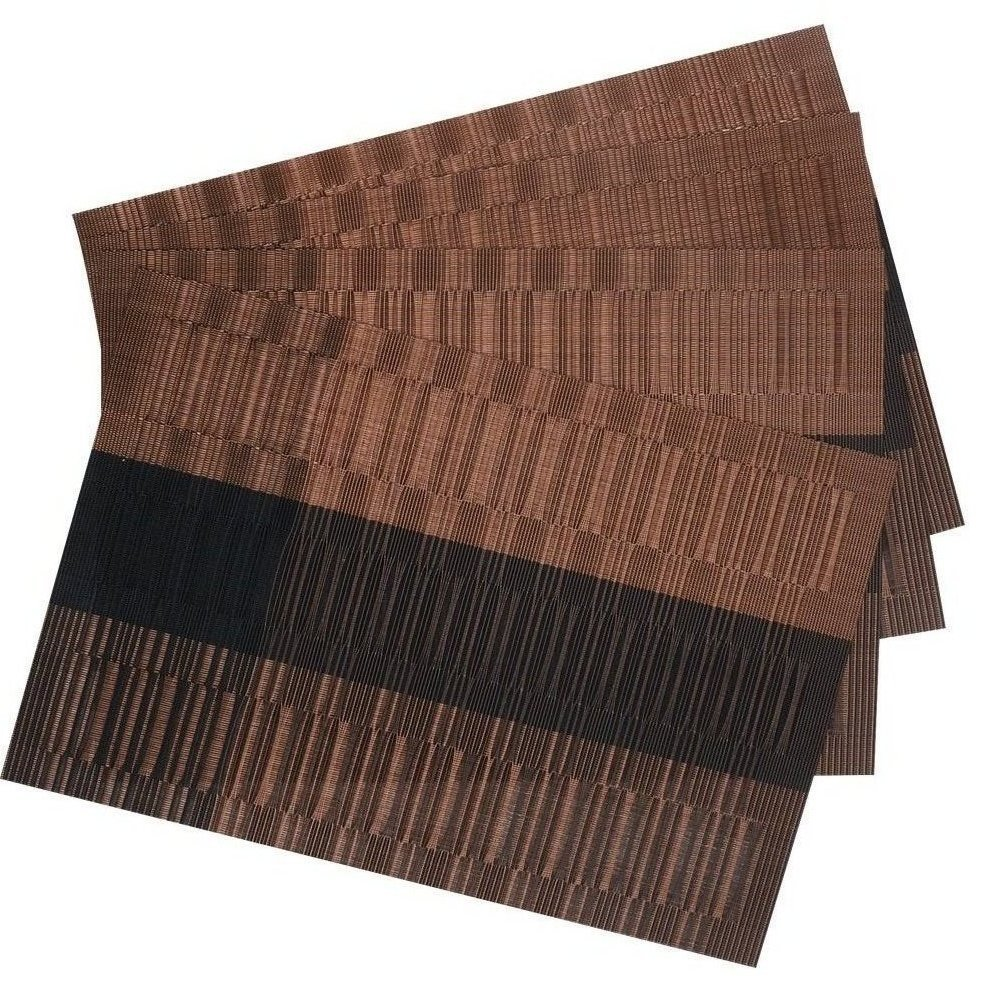 Amazon: Shacos Exquisite Pvc Placemats Woven Vinyl Place Mats For Table  Heatresistant Brown Mats (6, Ombre Coffee And Black): Home & Kitchen