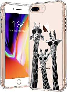 BICOL iPhone 8 Plus Case Clear with Design for Girls Women,12ft Drop Tested,Military Grade Shockproof,Slim Fit Protective Phone Case for Apple iPhone 8 Plus/iPhone 7 Plus Cool Giraffe