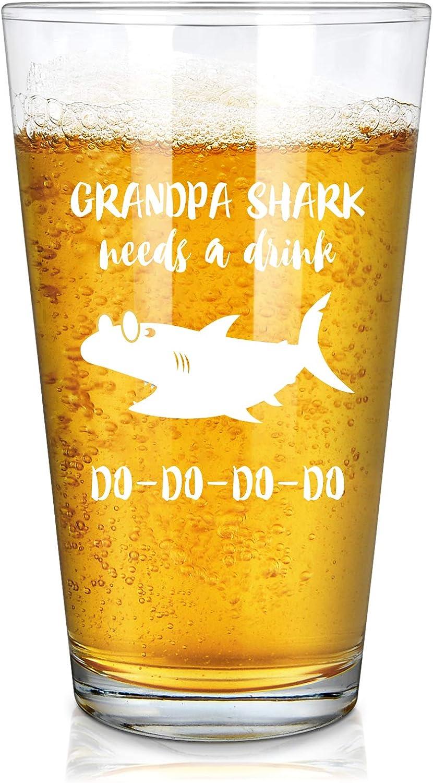 Grandpa Shark Needs a Drink Do Do Do Do Funny Beer Glass, Grandpa Pint Glass for for Men, Grandpa, Grandfather, New GrandpaChristmas - Gift Idea for Christmas Birthday, Father's Day