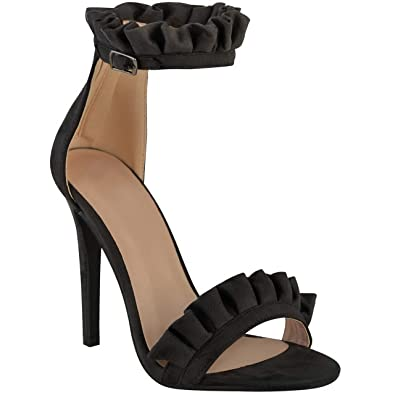 75ae7fe87a08 Miss Image UK New Womens Ladies HIGH Stiletto Heel Barely There Ruffle  Frill Ankle Band Party Sandals Shoes Size  Amazon.co.uk  Shoes   Bags