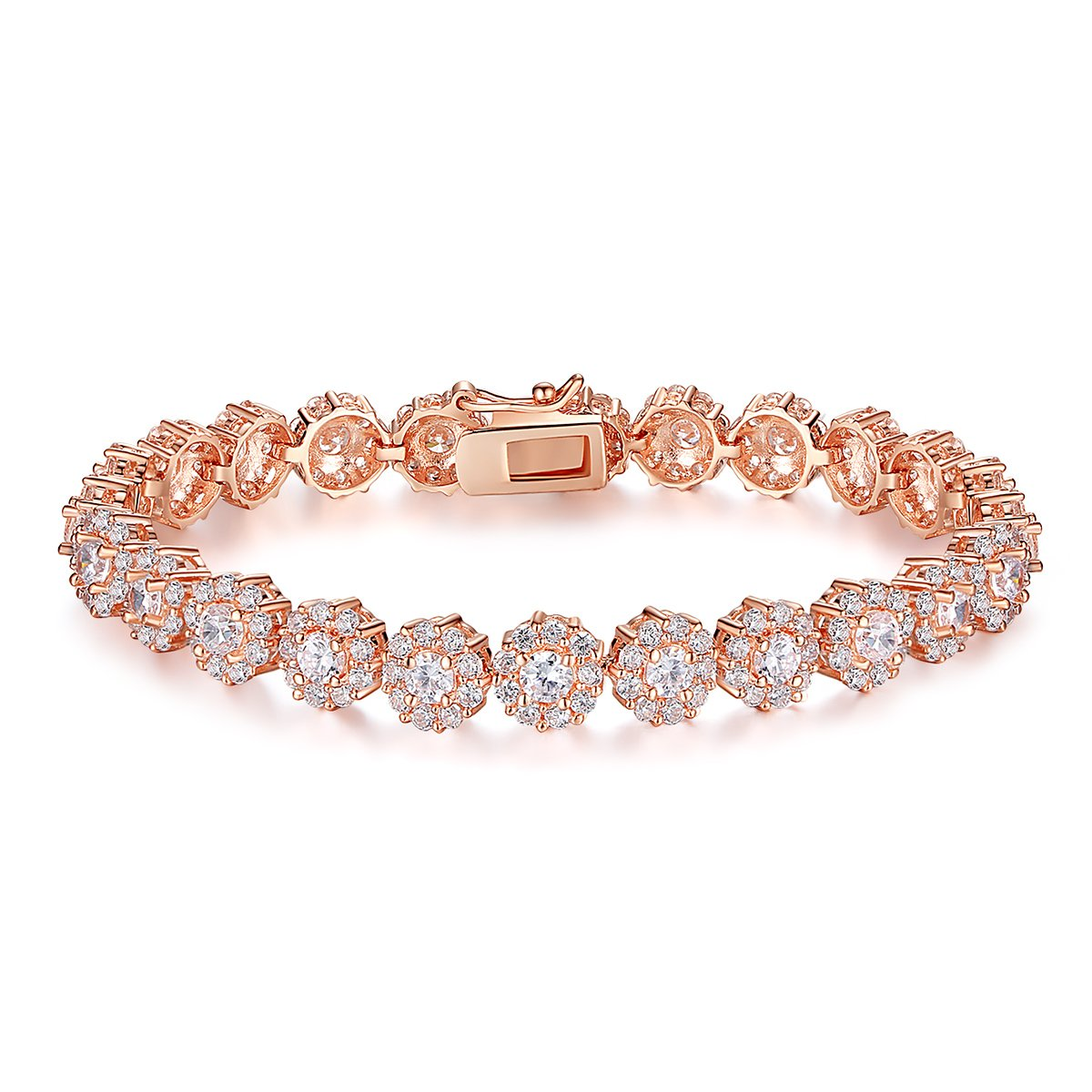 BAMOER Classic Rose Gold Plated Bracelet with Sparkling White Cubic Zirconia for Women 6.7 Inches by BAMOER