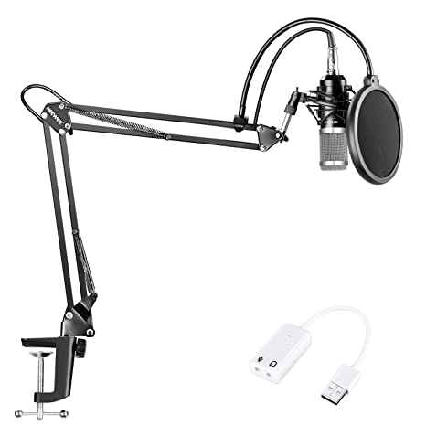 Neewer NW-800 Micrófono de Condensador Kit con Adaptador de Tarjeta de Sonido USB, Suspensión Ajustable Soporte de Brazo, Montura Antichoque, Filtro ...