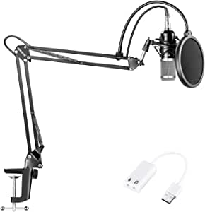 Neewer NW-800 Condenser Microphone (Black/Silver) Kit with USB Sound Card Adapter,Adjustable Suspension Scissor Arm Stand,Shock Mount,Pop Filter for Studio Recording Broadcast YouTube Live Periscope