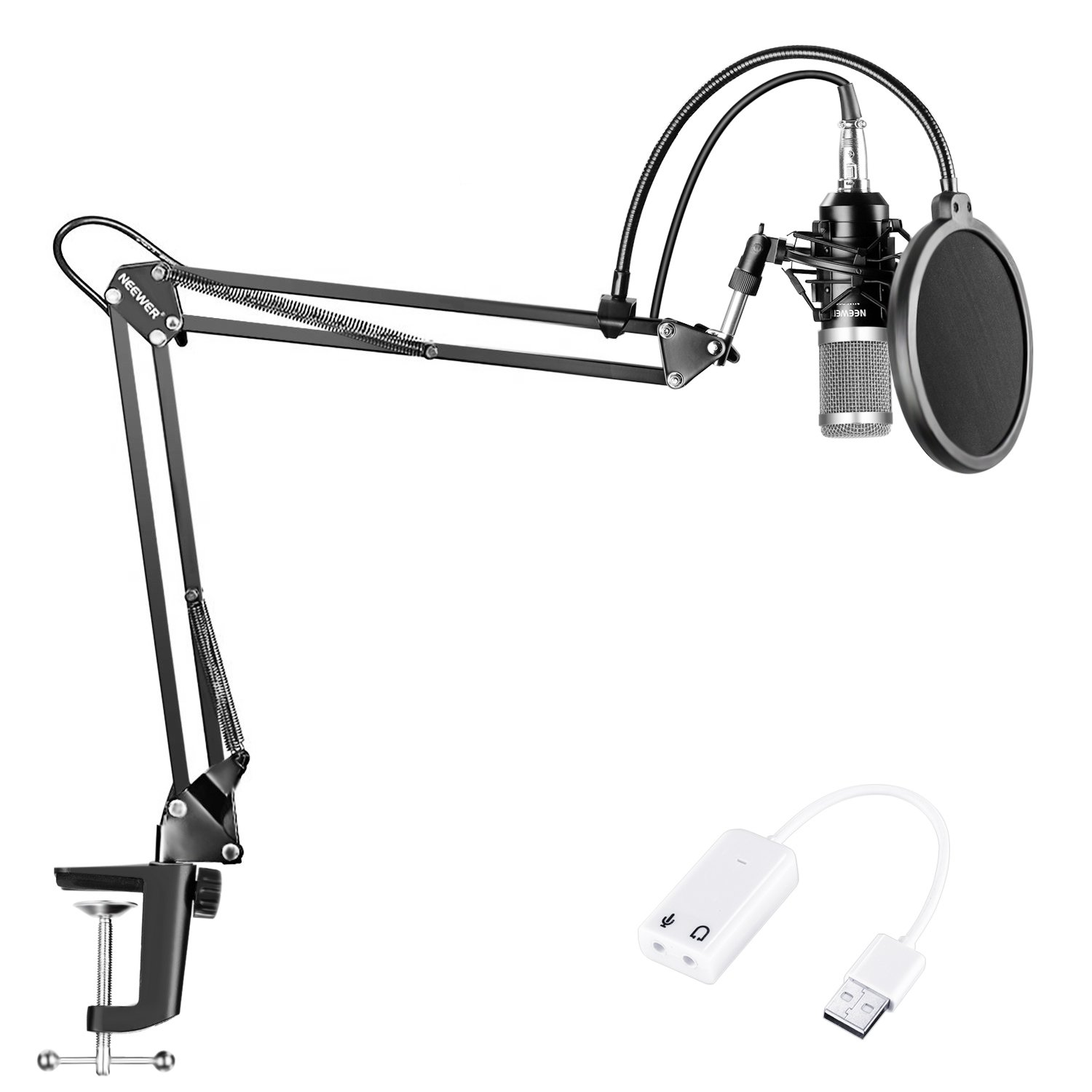 Neewer NW-800 Condenser Microphone (Black/Silver)Kit with USB Sound Card Adapter,Adjustable Suspension Scissor Arm Stand,Shock Mount,Pop Filter for Studio Recording Broadcast YouTube Live Periscop by Neewer