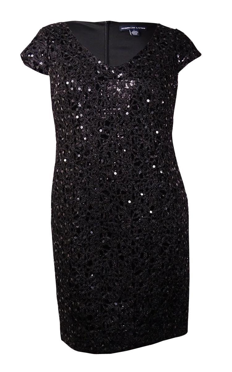 Adrianna Papell Women's Plus-Size Cap Sleeve V-Neck Lace Shift Dress, Black, 18W