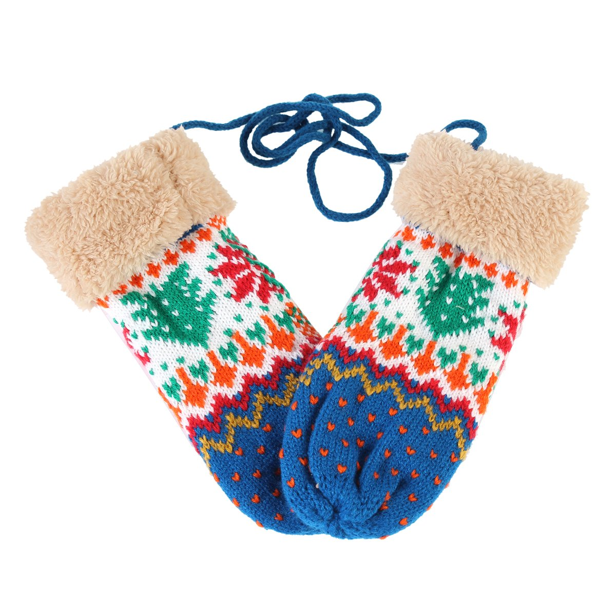 Damara Womens Warm Hand-knit Tree Printed Faux-fur Halter Mitten,Blue