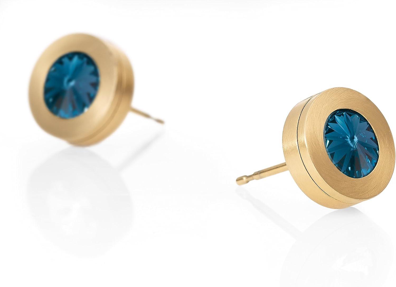 Heideman Earrings Ladies Colori pendientes de acero inoxidable color oro pulido para las mujeres con cristal de Swarovski blanco/piedras de colores para el intercambio