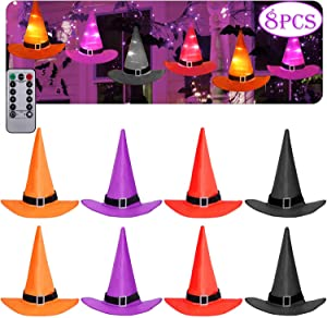 COOLMI Party Decorations Outdoor Hanging Lighted Glowing Witch Hat Decorations 36ft Halloween Lights String Remote Control Halloween Decor with 8 Lighting Modes for Outdoor, Yard, Tree (8 Pcs)