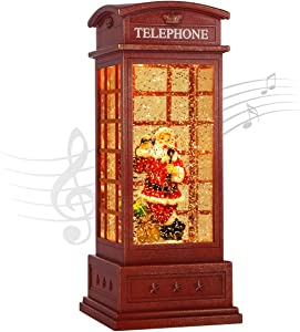 JEDAWN Christma Lantern, Decorative Singing Christmas Snow Globes Musical Lighted Christmas Water Glittering Swirling Snow Telephone Booth with Christmas Home Decoration and Gifts