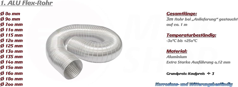 MKK 18307-005 1m alle Gr/ö/ßen Flexrohr Alurohr ALU-Flex Rohr Schlauch Flexschlauch /Ø 115 mm