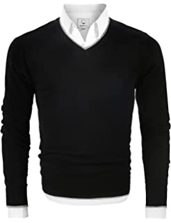 f2c33f5d4c MOCOTONO Men s V Neck Fleece-Lined Pullover Cotton Sweater Casual Sweat  Dress