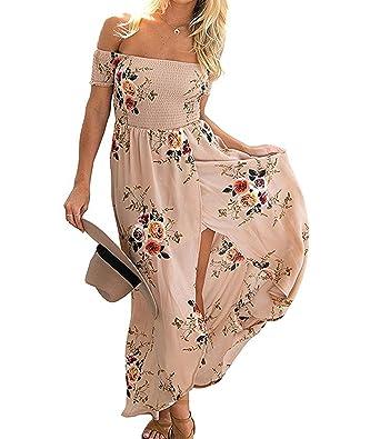 2f8dceda741785 ZILIN Women Summer Floral Off The Shoulder Split Chiffon Maxi Beach Dress  Wedding Party (S