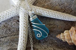 product image for Handmade in Hawaii, wire wrapped blue sea glass necklace, (Hawaii Gift Wrapped, Customizable Gift Message)