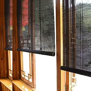 Persiana enrollable Cortina de Bambu Negras De 100/120 / 140cm De ...