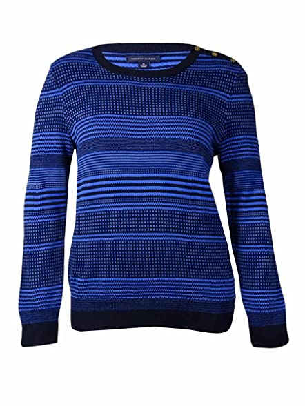 Tommy Hilfiger Womens Pattern Crew Neck Pullover Sweater Navy XL ...