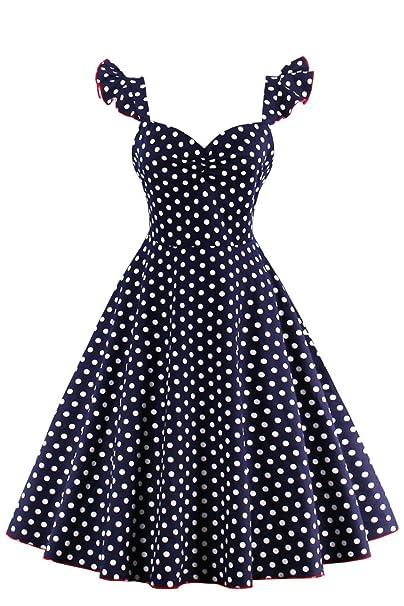 Babyonlinedress Vestido azul marino de fiesta para bodas vestido de lunares cuello cuadrado hombros de volantes