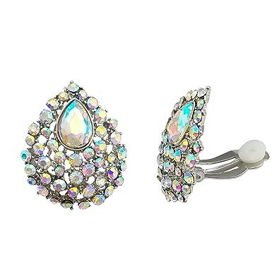 c7d1ca825 Amazon.com: SELOVO Clear AB Austrian Crystal Teardrop Clip on Stud Earrings  Iridescent Color Stone Silver Tone: Jewelry