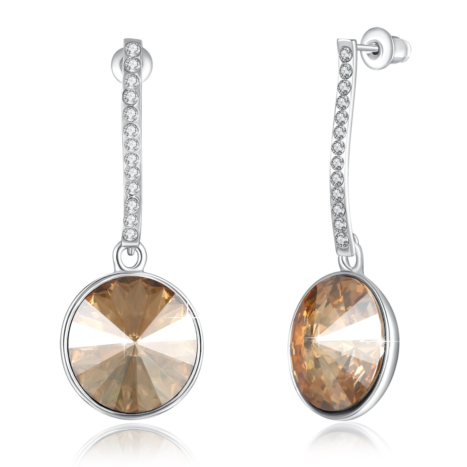 PLATO H Pretty Magic Earrings Cute Round Crystal Earrings Round Drop Dangle Earring with Swarovski Crystals Round Champagne Earring