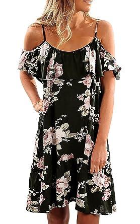 Aking Sommerkleider Damen Cold Shoulder Freizeitkleid Kurzes Strandkleid  Partykleid Midikleid mit Blumenmuster 019351782d