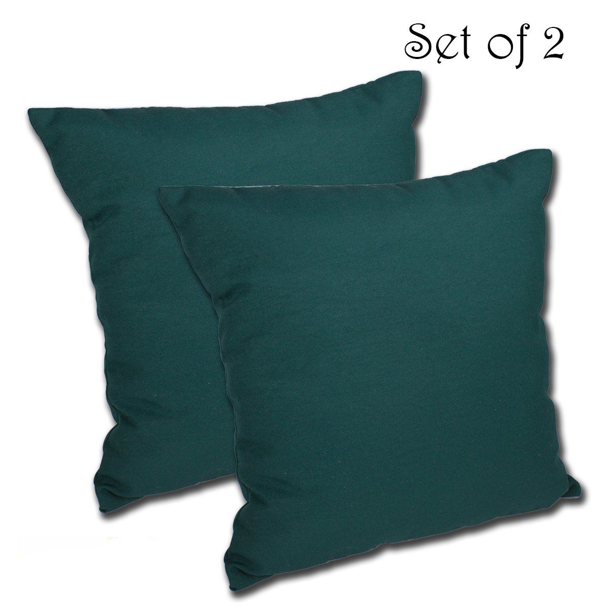 Comfort Classics Inc. Set of 2 16W x 16D x 5H Spun Polyester Outdoor Throw Pillow in Solid Spruce