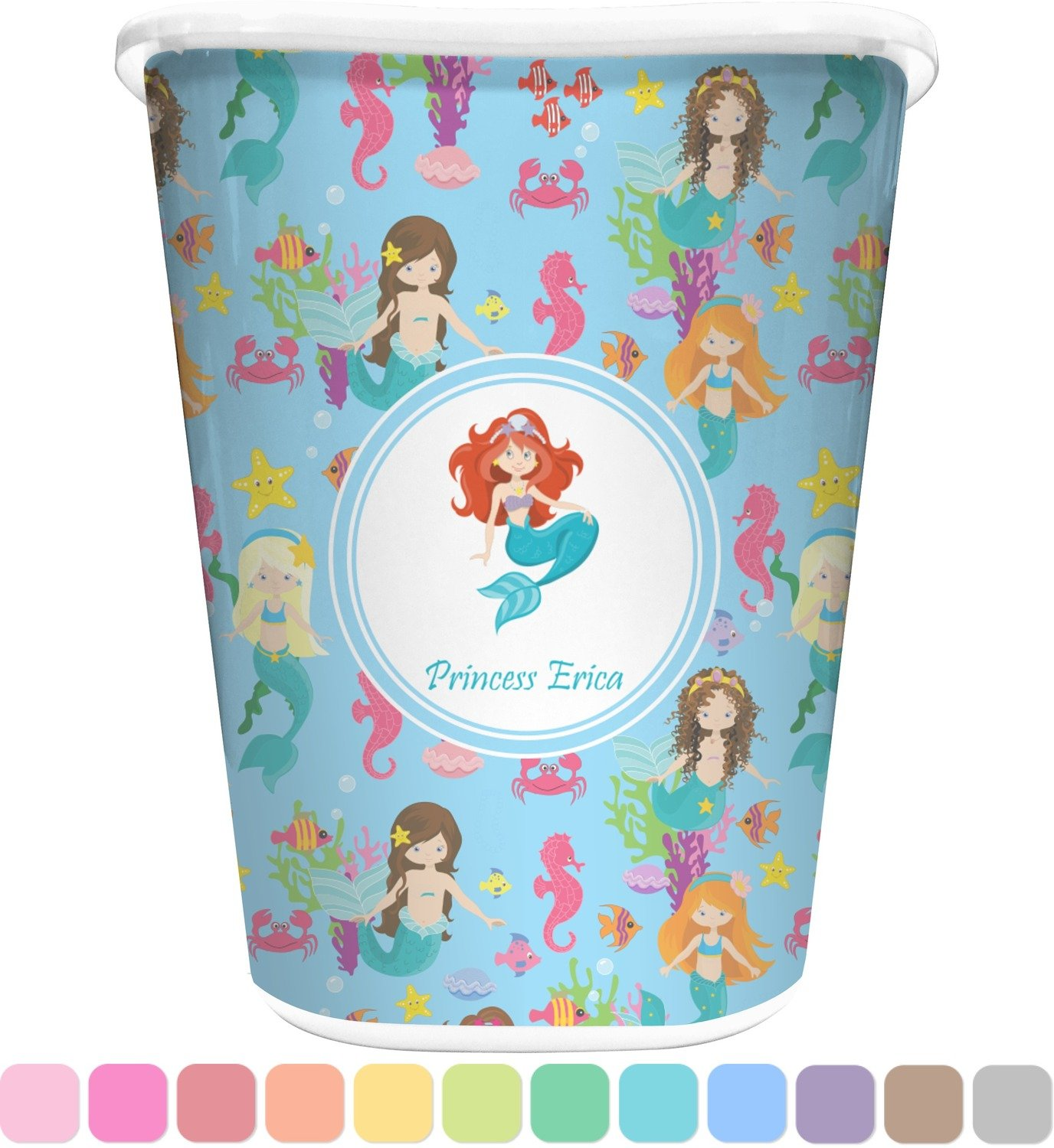 Amazon com rnk shops mermaids waste basket single sided white personalized home kitchen