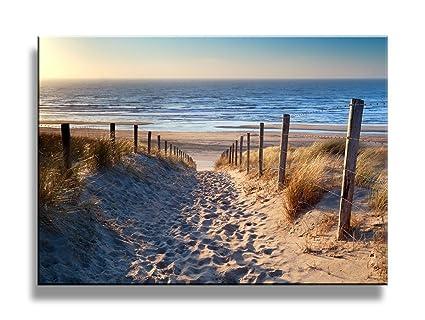 Amazon.com: yixuanwall art-canvas Prints, Footprints beach Wall Art ...
