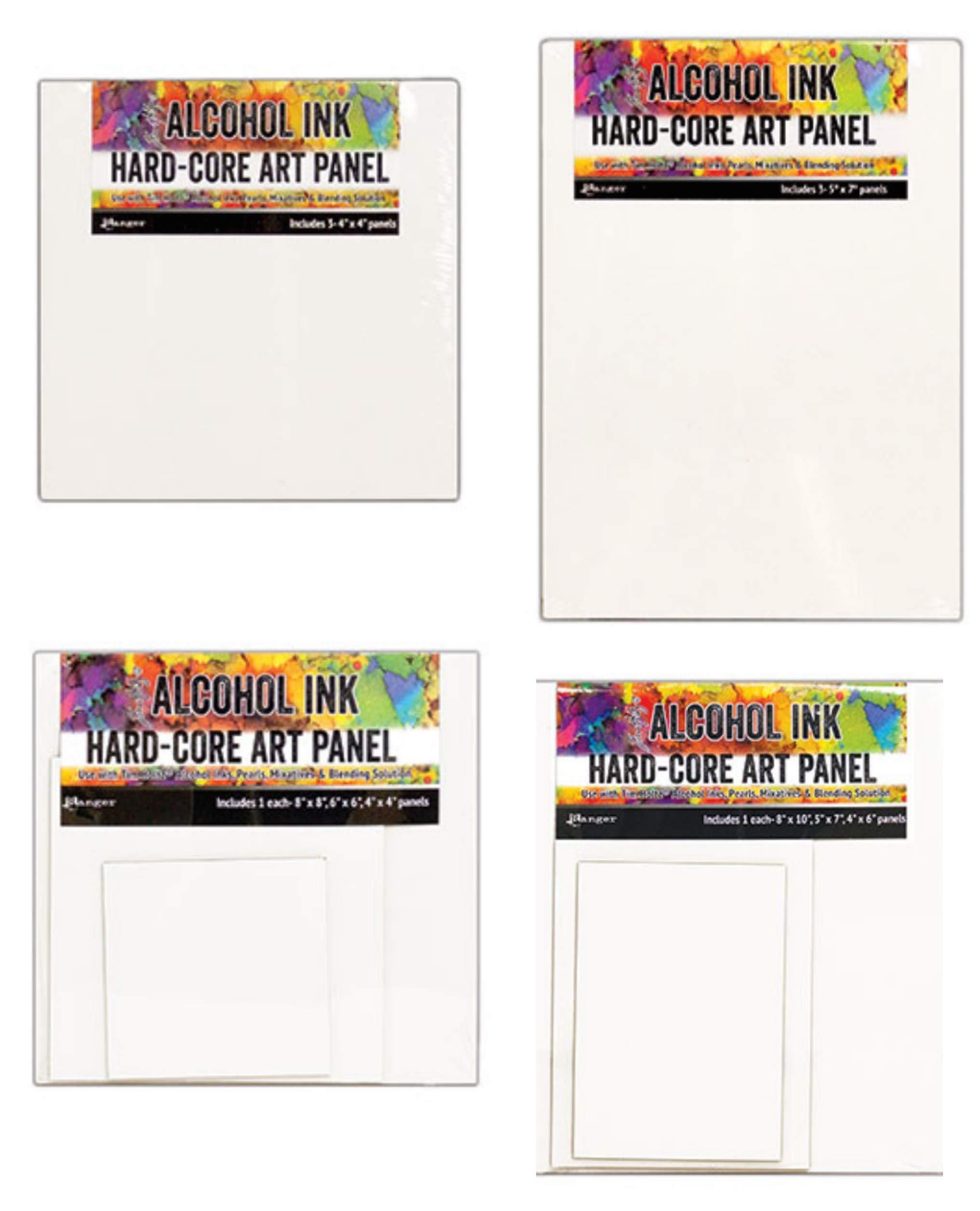 Tim Holtz Alcohol Ink Artists Hard-core Art Panels - Bundle of 12 Pieces, Various Sizes