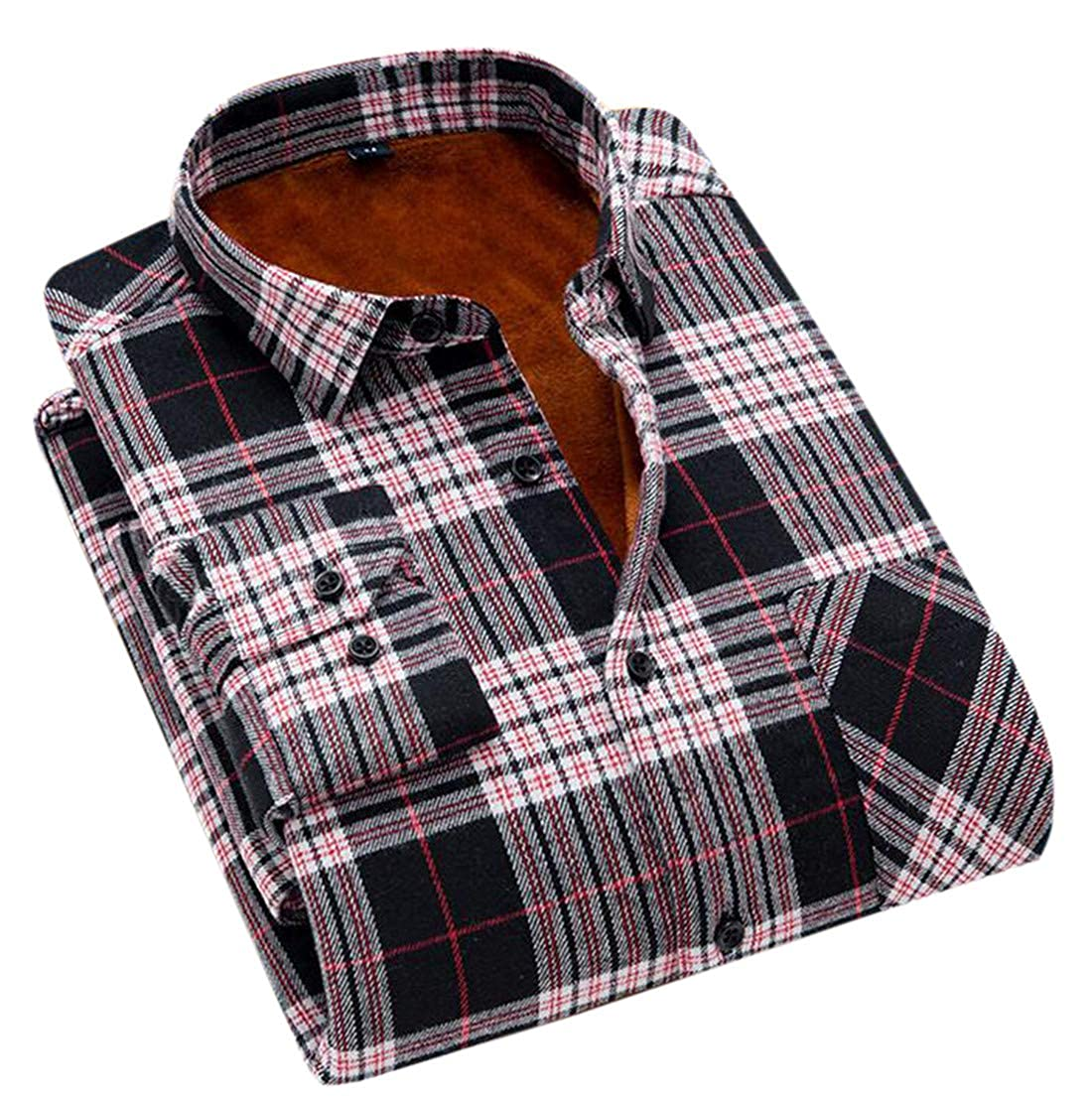 XTX Mens Fleece Lined Plaid Long Sleeve Button Front Slim Shirts