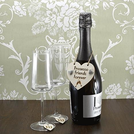 Amigos para siempre Prosecco hecha a mano botella de vino encanto + ...