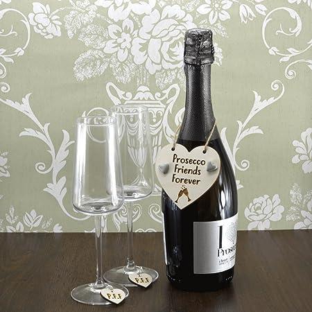 Amigos para siempre Prosecco hecha a mano botella de vino ...