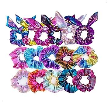 16Pcs Shiny Metallic Hair Scrunchies Ponytail Holder Elastic Hair Ties Band Gift