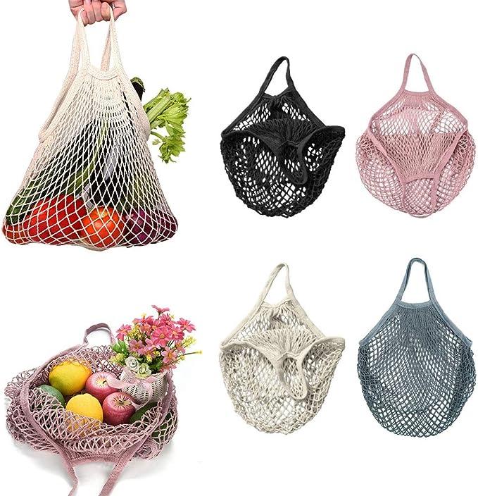 4 bolsas de malla, reutilizables, bolsa de la compra de red, bolsa de cuerda de algodón, bolsa de mano para almacenamiento de frutas y verduras: Amazon.es: Ropa y accesorios